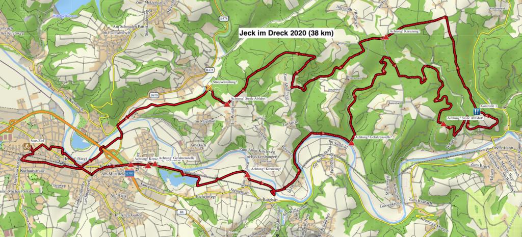 """38 km CTF -Strecke von """"Jeck im Dreck"""" 2020"""