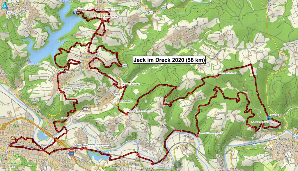 """58 km CTF -Strecke von """"Jeck im Dreck"""" 2020"""